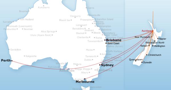 New Zealand Route Map.Qantas Traveltalk Nz