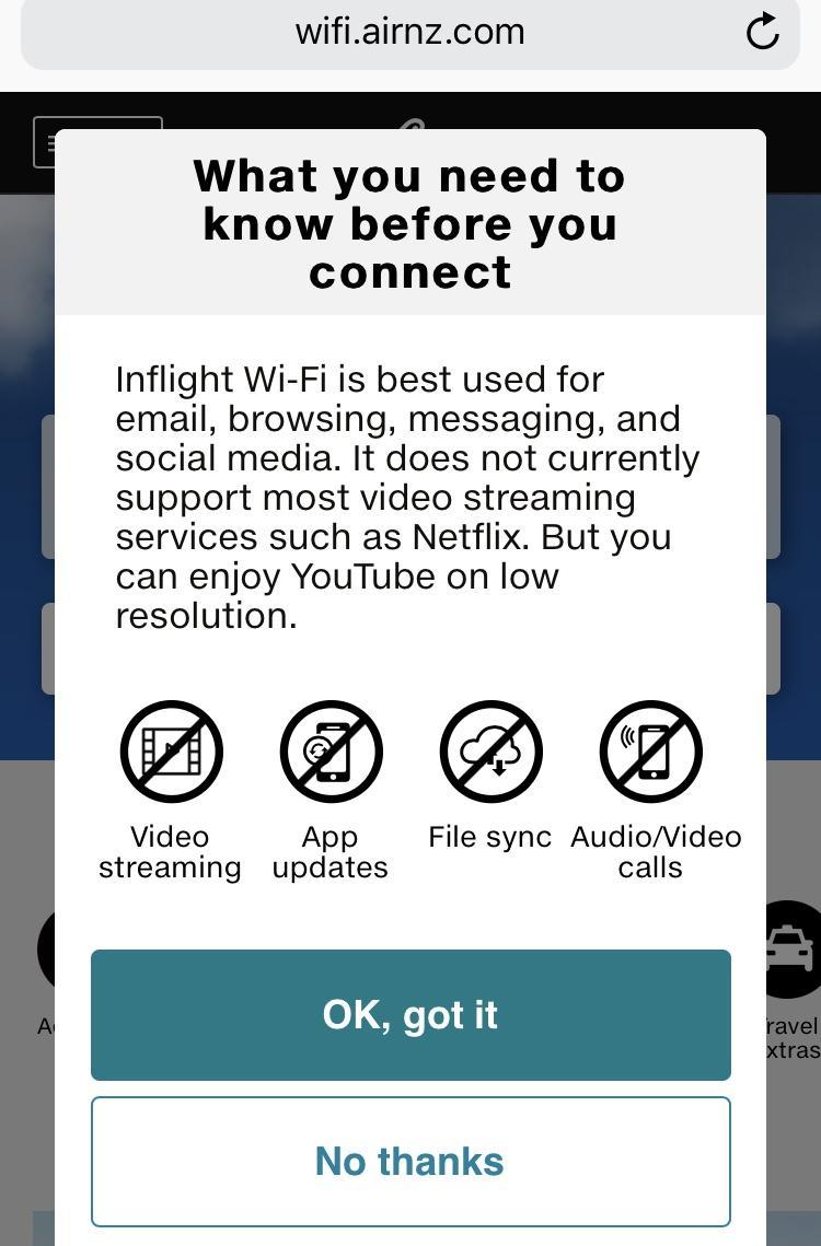 Air Nz Wi Fi Speeds And Prices Traveltalk Nz