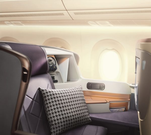 Singapore Airlines A350 long haul business class seat